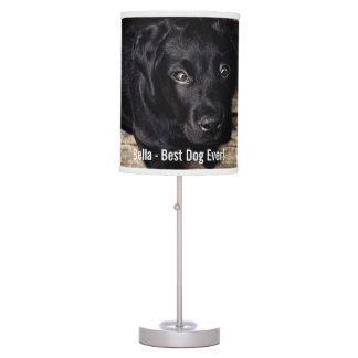 Personalized Black Lab Dog Photo and Dog Name Table Lamp