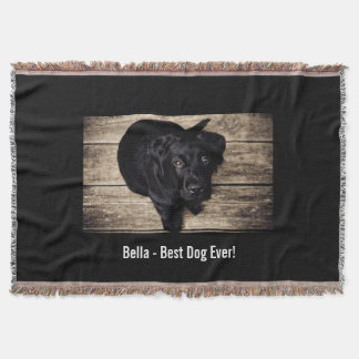 Personalized Black Lab Dog Photo and Dog Name Throw