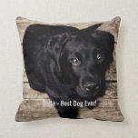 Personalized Black Lab Dog Photo and Dog Name Throw Pillow<br><div class='desc'>Personalize this keepsake with your dog&#39;s or puppy&#39;s photo and name (or other pet or person&#39;s photo/name). Text reads &quot;Best Dog Ever&quot; or add your own text - We love Bella (dog&#39;s name), dog&#39;s birthday or day of passing. Just click on &quot;customize&quot; to add your personalized text, change the font...</div>