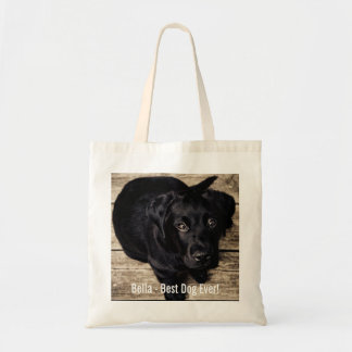 Personalized Black Lab Dog Photo and Dog Name Tote Bag