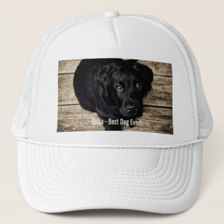 Personalized Black Lab Dog Photo and Dog Name Trucker Hat