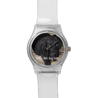 Personalized Black Lab Dog Photo and Dog Name Wrist Watch