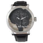 Personalized Black Lab Dog Photo and Dog Name Wristwatch