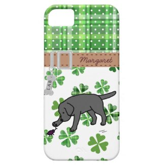 Personalized Black Lab Friendly Cartoon iPhone 5 Case