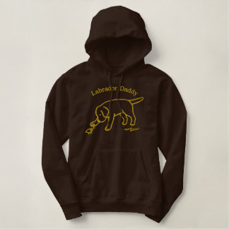 Personalized Black Lab Friendly Cartoon Daddy Embroidered Hoodie