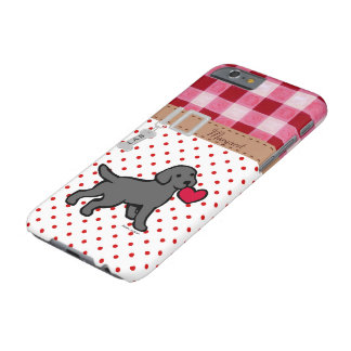 Personalized Black Lab Puppy and Red Heart Barely There iPhone 6 Case