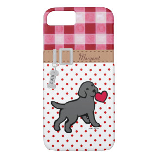 Personalized Black Lab Puppy and Red Heart iPhone 7 Case
