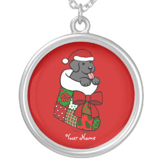Personalized Black Lab Puppy Christmas Cartoon Round Pendant Necklace