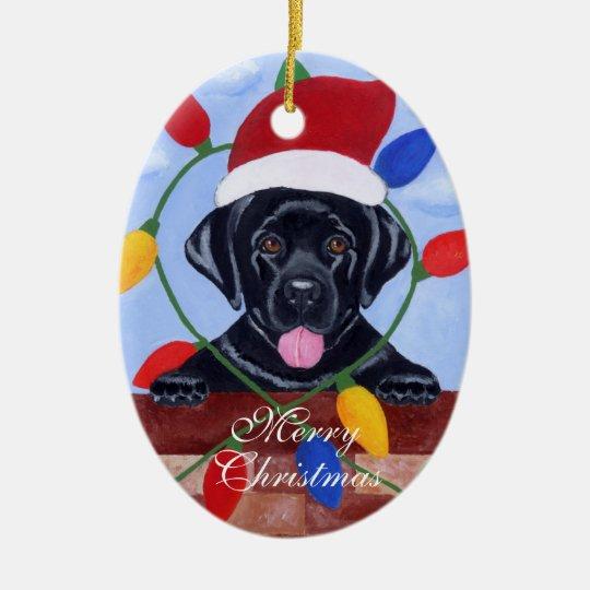 Personalized Black Lab Puppy Christmas Ceramic Ornament