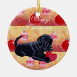 Personalized Black Lab Puppy Christmas Christmas Ornaments