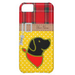 Personalized Black Lab Puppy Flowers Cartoon iPhone 5C Cover