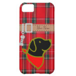 Personalized Black Lab Puppy Flowers Cartoon iPhone 5C Cases