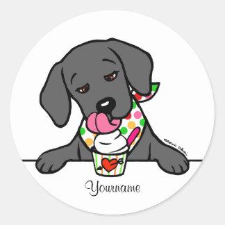 Personalized Black Lab Puppy Ice Cream Classic Round Sticker