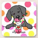 Personalized Black Lab Puppy Ice Cream Coasters