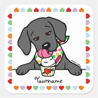 Personalized Black Lab Puppy Ice Cream Square Sticker