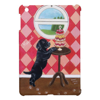 Personalized Black Lab Puppy with Cupcakes iPad Mini Cover