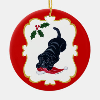 Personalized Black Lab Puppy with Santa Hat Christmas Ornaments