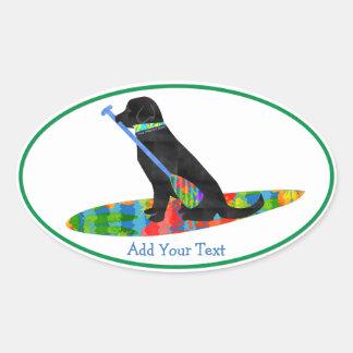 Personalized Black Lab SUP Dog Oval Sticker