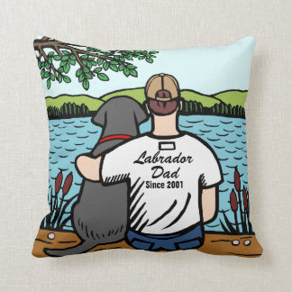 Personalized Black Labrador and Dad 2 Throw Pillow