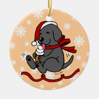Personalized Black Labrador Cartoon Christmas Double-Sided Ceramic Round Christmas Ornament