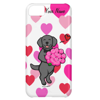 Personalized Black Labrador Cartoon Roses Cover For iPhone 5C