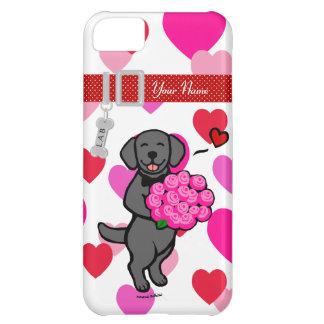 Personalized Black Labrador Cartoon Roses iPhone 5C Case