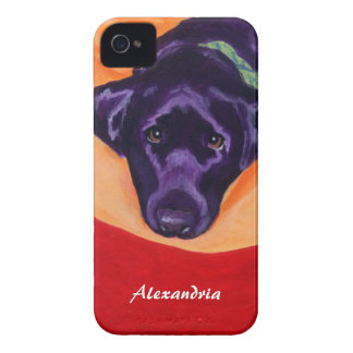 Personalized Black Labrador Painting iPhone 4 Case