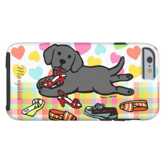 Personalized Black Labrador Puppy Cartoon Tough iPhone 6 Case