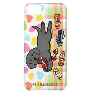 Personalized Black Labrador Puppy Cartoon iPhone 5C Cases