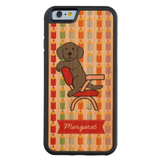 Personalized Black Labrador Student 3 Cartoon Carved® Cherry iPhone 6 Bumper Case
