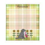 Personalized Black Labrador with Sunflowers Notepad