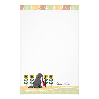 Personalized Black Labrador with Sunflowers Stationery