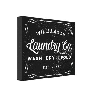 Personalized Black Laundry Co Wash Dry Fold Sign