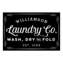 Personalized Black Laundry Wash Dry Fold Sign