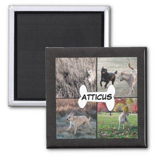 Personalized Black Leather Dog Photos Instagram Magnet