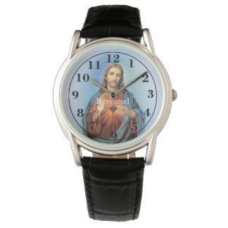 Personalized Black Leather Strap Watch/Jesus Wrist Watch