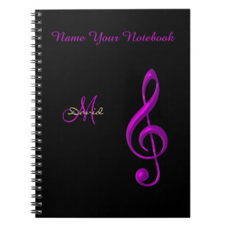 Personalized Black Light Music Clef Notebook