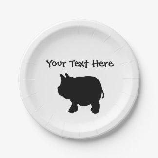 "Personalized Black Mini Pig Paper Plates 7"""