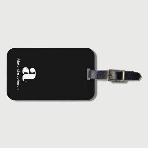Personalized Black Modern Monogram Minimal Name Ca Luggage Tag