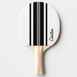 Personalized Black Modern Racing Stripes Ping-Pong Paddle