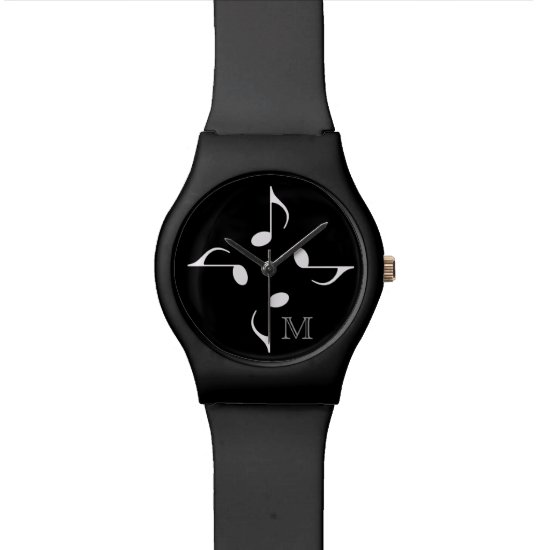 personalized black music notes wristwatch