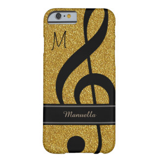 personalized black musical note on golden barely there iPhone 6 case