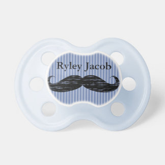 Personalized Black Mustache Baby Boy Pacifier