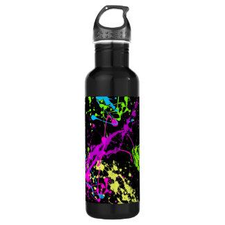 Personalized Black/Neon Splatter 24oz Water Bottle