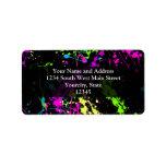 Personalized Black/Neon Splatter Address Label