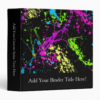 Personalized Black/Neon Splatter 3 Ring Binder