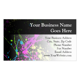 Personalized Black/Neon Splatter Double-Sided Standard Business Cards (Pack Of 100)
