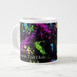 Personalized Black/Neon Splatter Giant Coffee Mug
