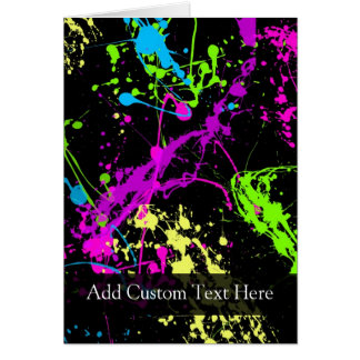 Personalized Black/Neon Splatter Greeting Card
