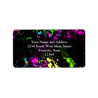 Personalized Black/Neon Splatter Label